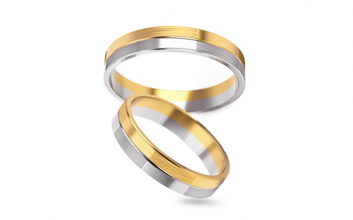 4mm/0.16'' Two Tone Wedding Bands - STOB246