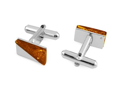 Silver cuff-links with amber