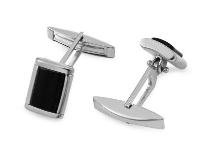 Silver cufflinks with black stone