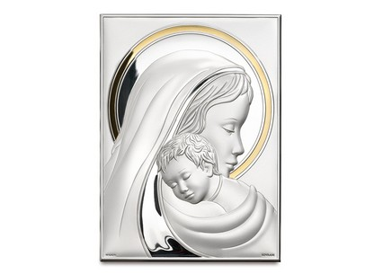 Silver plated image of Madonna and Child