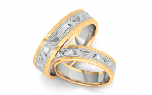 Bicolour wedding bands width 5 mm - STOB150