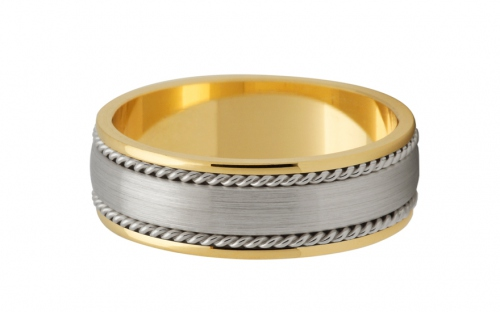 Bicolour wedding bands width 6 mm - STOB182