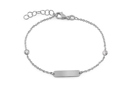 White gold baby bracelet with engraving plate and zircons