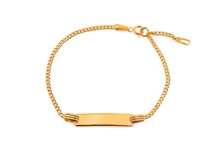 Children's Gold Bracelet with Engraving Plate