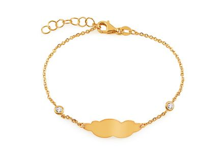 Gold children's bracelet with plate for engraving and zircons