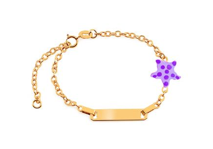 Gold children's bracelet with star and engraving plate