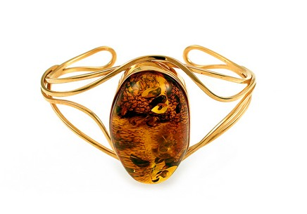 Silver and gold plated bangle amber bracelet