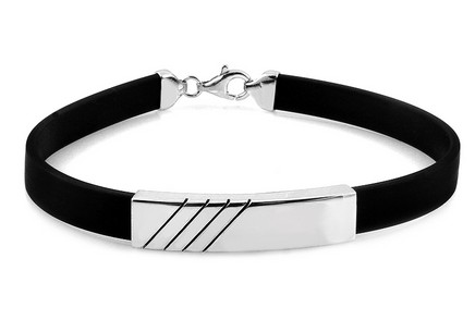 Silver and Rubber Bracelet