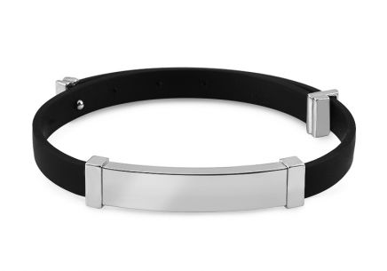 Silver rubber bracelet with plate