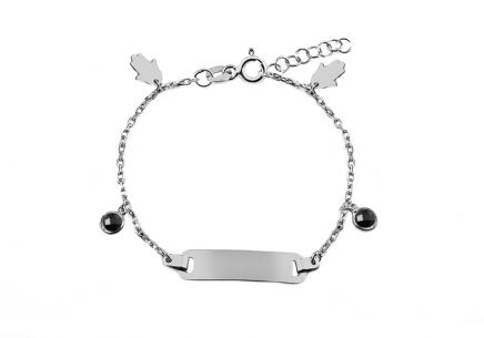 Silver children's bracelet with plate and pendants