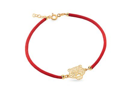 Gold red cord Tiger bracelet
