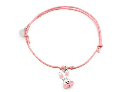 Silver pink cord baby bracelet Bunny