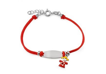 Silver red cord baby bracelet with plate and Girl