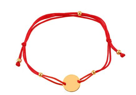 Red cord bracelet with gold plate