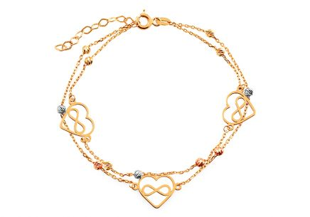 Mixed gold bracelet with hearts