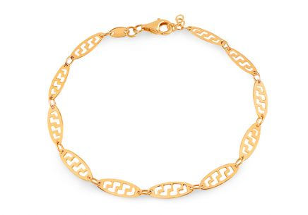 Gold bracelet with cut pattern