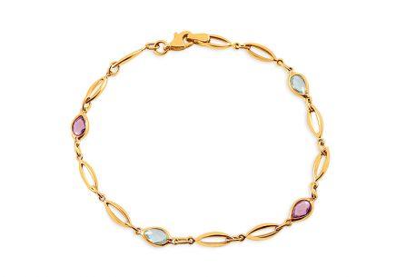 Gold Bracelet with Coloured Zircons