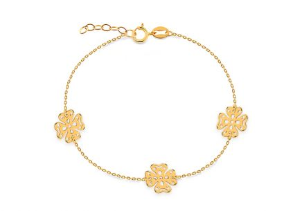 Gold bracelet with four-leaf clovers
