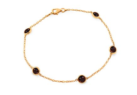 Gold bracelet with natural garnet