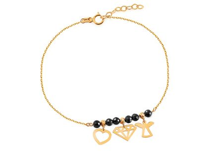 Gold bracelet with pendants and black zircons