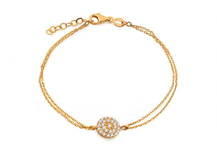 Gold double-row bracelet with zircons
