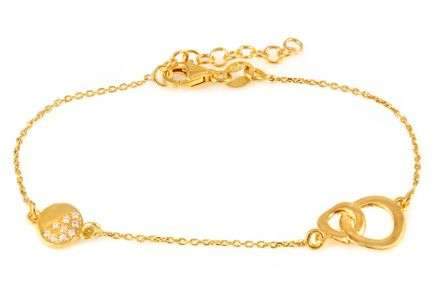 Gold plated 925 sterling silver bracelet with circles