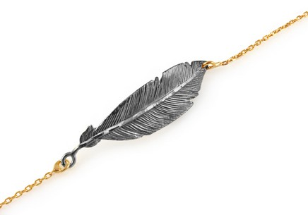 Gold plated 925 Sterling Silver bracelet with feather