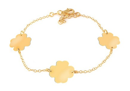 Gold Plated Sterling Silver Bracelet Lucky Four Leaf Clovers