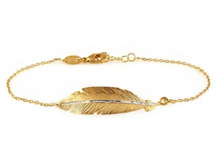 Gold plated Sterling Silver Bracelet with a feather