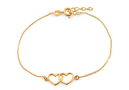 Gold Plated Sterling Silver Bracelet Hearts