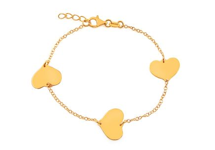 Gold Plated Sterling Silver Bracelet with Hearts