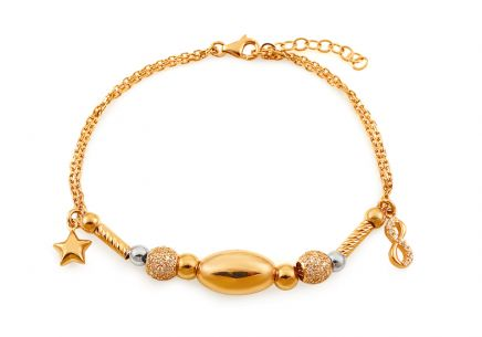 Gold Two Toned Bracelet with Charms and Zircons Palmyra