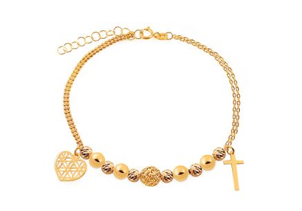 Golden bracelet with cross and heart Palmyra
