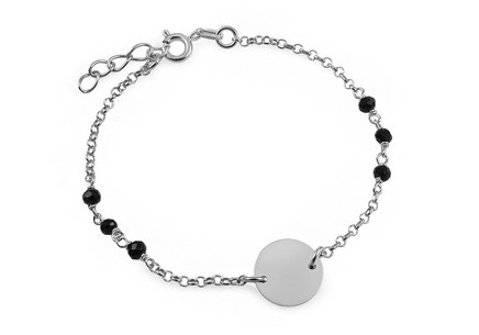 Silver bracelet with black cubic zirconia