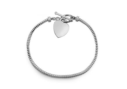 Rhodium plated Silver bracelet with heart
