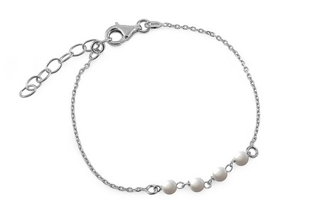 Rhodium plated 925Sterling Silver bracelet with pearls