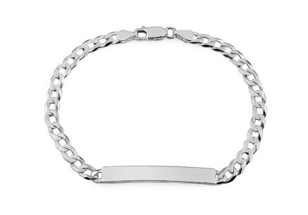 Silver bracelet with plate