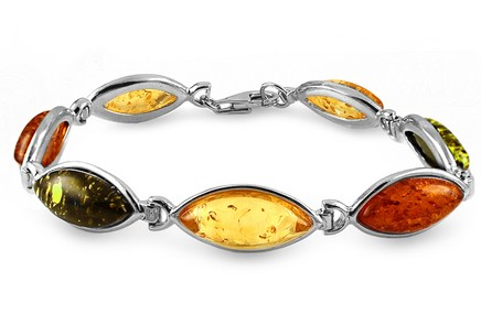Silver Bracelet with Three Coloured Ambers