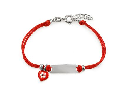 Silver childrens red string bracelet Heart and plate
