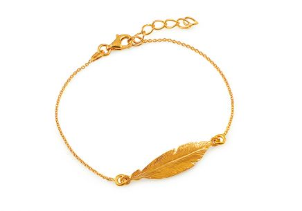 Silver gold plated bracelet with feather