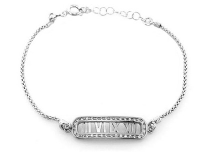 Sterling Silver Bracelet Time White with Cubic Zirconia