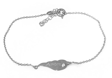 Rhodium plate 925Sterling silver Earing Women's  bracelet Angel