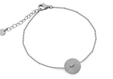 Women's silver plated Rhodium bracelet Button design