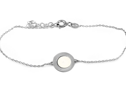 Rhodium plate 925Sterling Silver Women's bracelet with white pearl