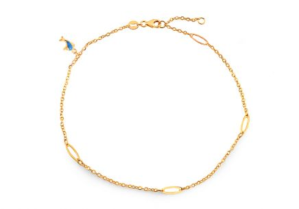Gold ankle chain with dolphin