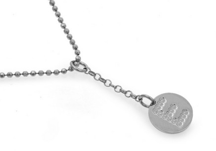 Rhodium plated 925Sterling Silver chain with Alphabet disc charm in sterling silver pendant letter E