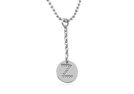 Rhodium plated Silver necklace with a pendant letter Z
