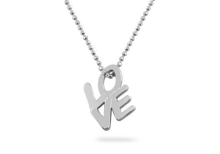 Rhodium plated silver necklace with Love pendant