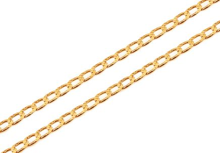 Gold curb chain with engraving 1.9 mm