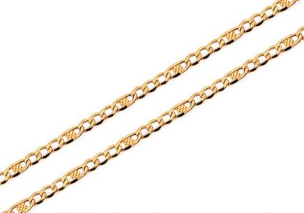 Gold Figaro chain with plates 2.5 mm
